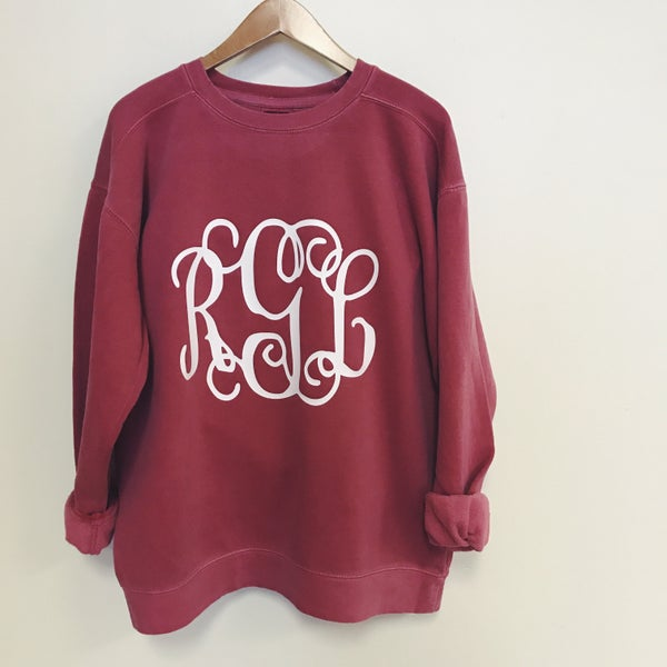 Image of Large Monogram Sweatshirt (Comfort Colors)
