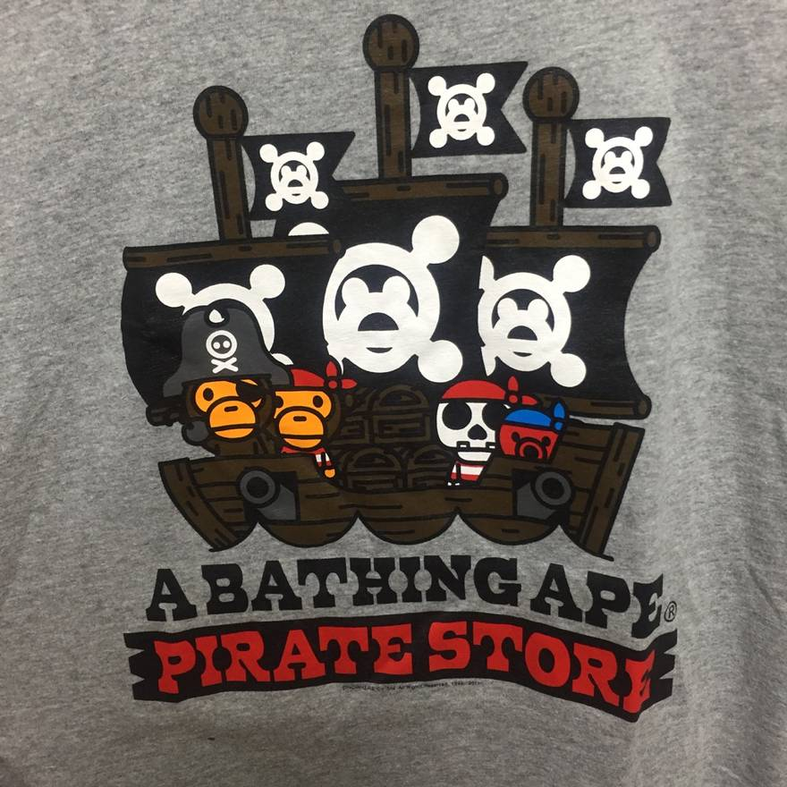 Image of Bape Japan Exclusive Pirate Store T-Shirt Grey