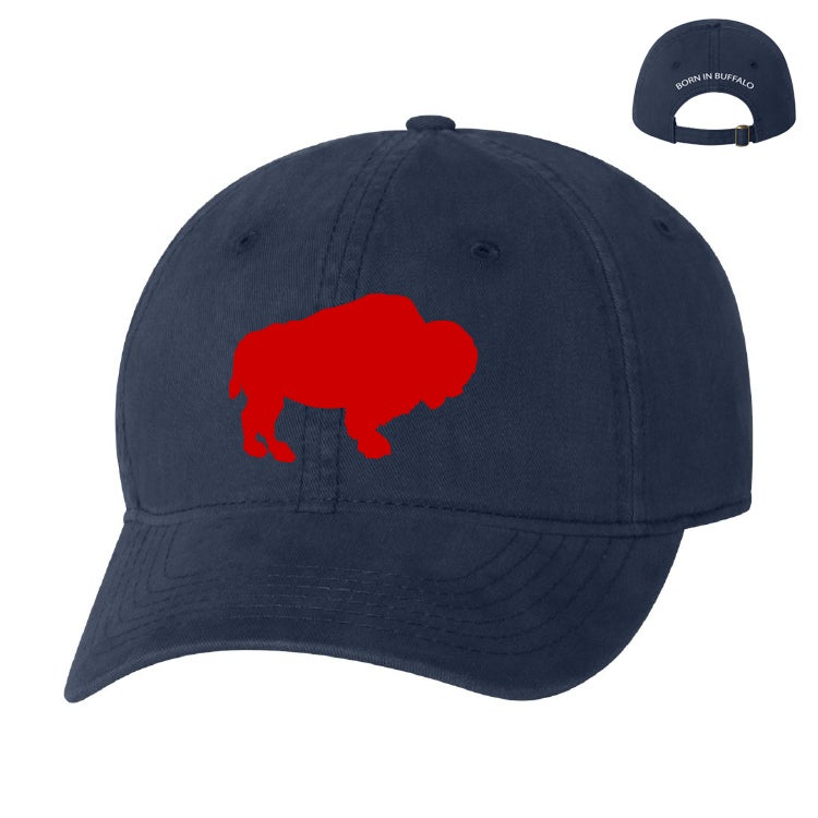 Image of Blue (ROYAL or NAVY) Hat w/ Red Buffalo