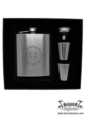 "Image of Shining ""SG"" flask set with shot glasses"