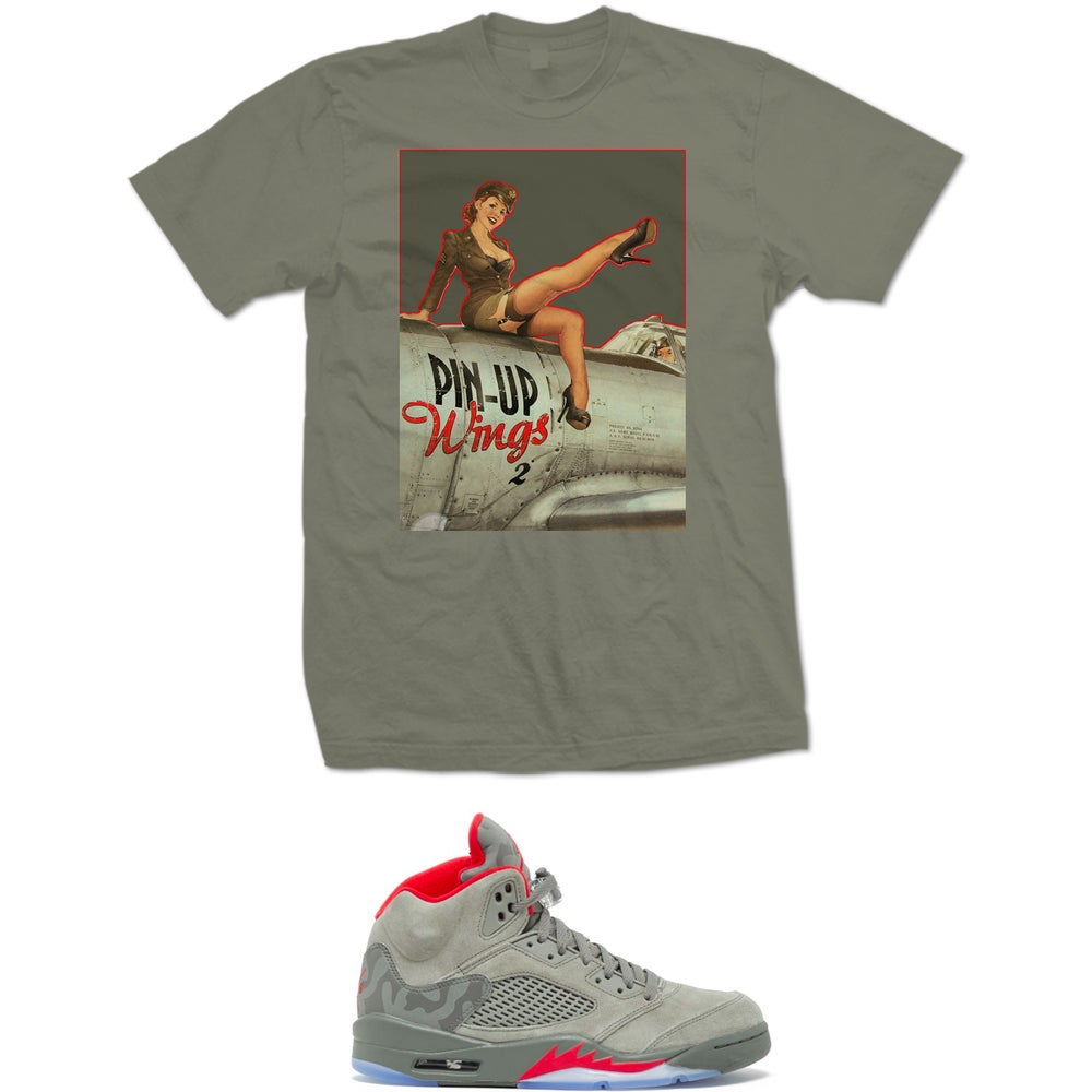 Image of PIN UP ARMY RETRO 5 CAMO T SHIRT - HEATHER GREEN