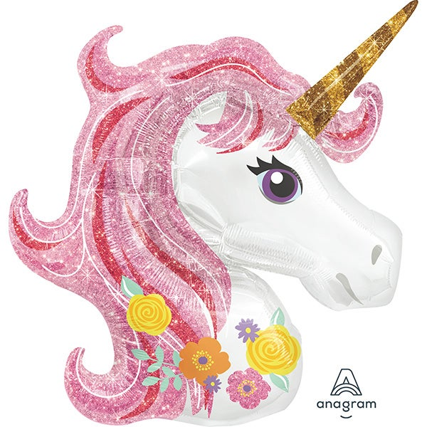 Image of {Magical Floral Unicorn} Mylar Balloon