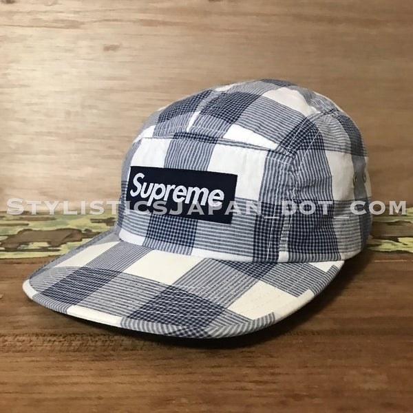 Image of Supreme Plaid Box Logo Cap White/Blue