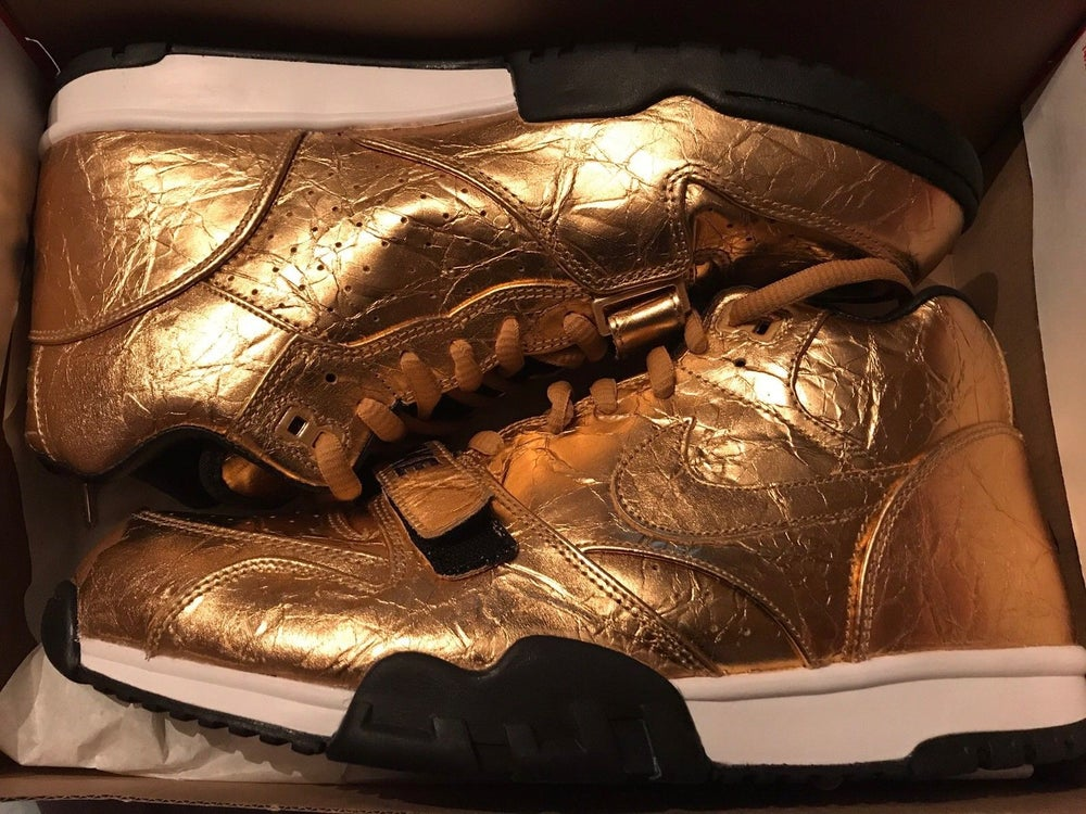 Image of SB50 Super Bowl NIKE AIR TRAINER 1 GOLD BRAND NEW Size 13 840169-700 DS