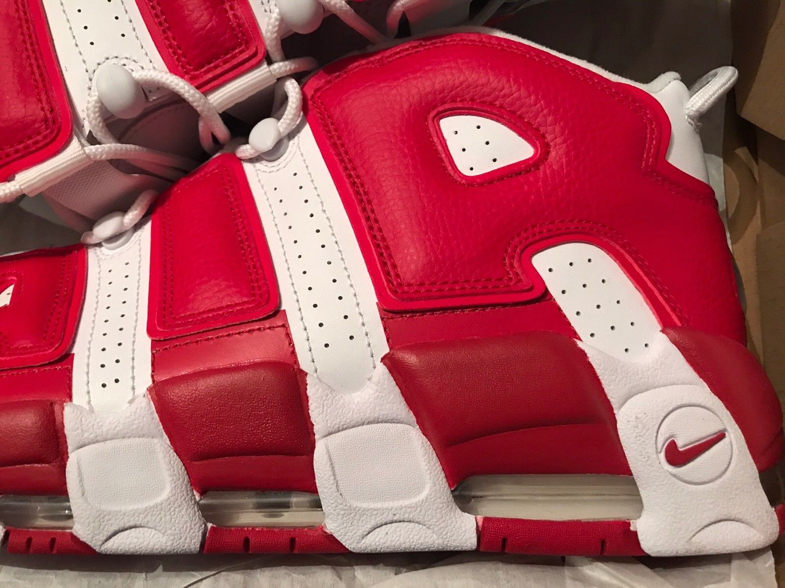 Image of Nike-Air-More-Uptempo-Gym-Red-White-Size-13-Used-One-Time-DS