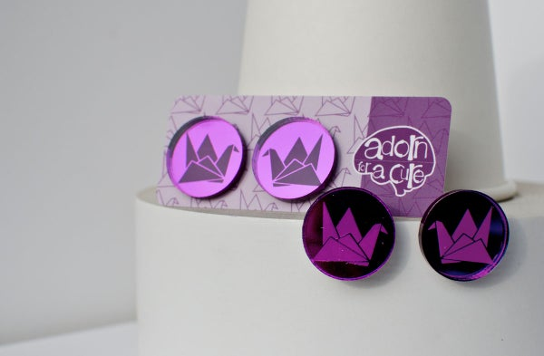 Image of Purple Mirror Earrings