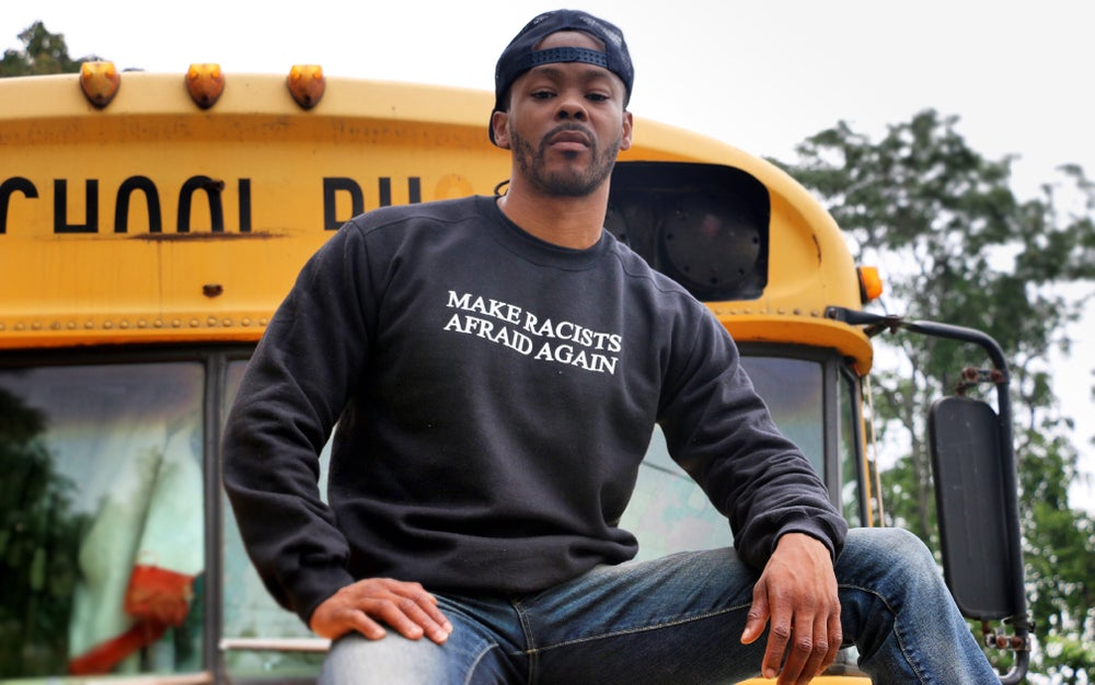 "Image of ""MAKE RACISTS AFRAID AGAIN"" Black Crew Neck Sweat Shirt"