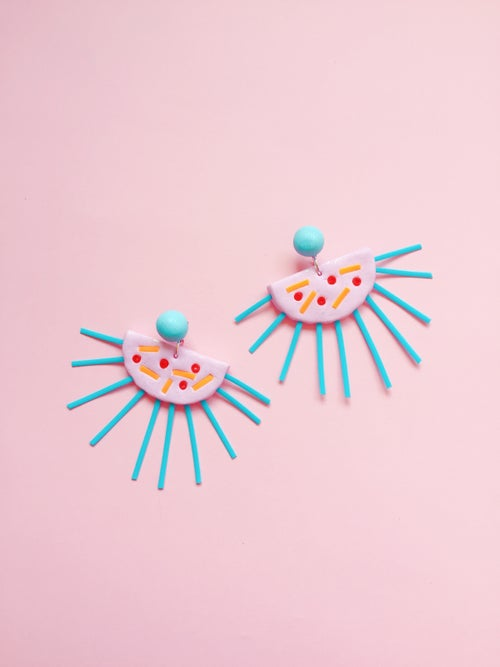 Image of NEW〰Sunburst drop stud dangle earrings