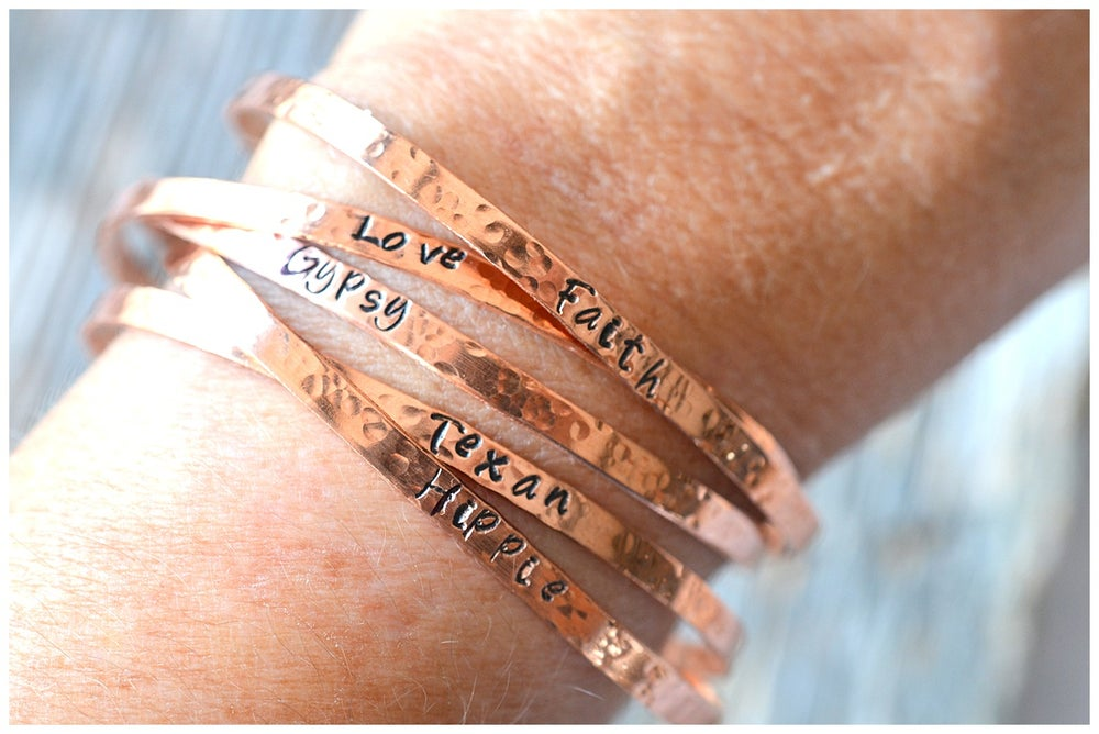 Image of Personalized Copper Cuffs