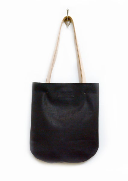 Image of Black Leather Tote Bag, Smooth and Sturdy Leather Shoulderbag