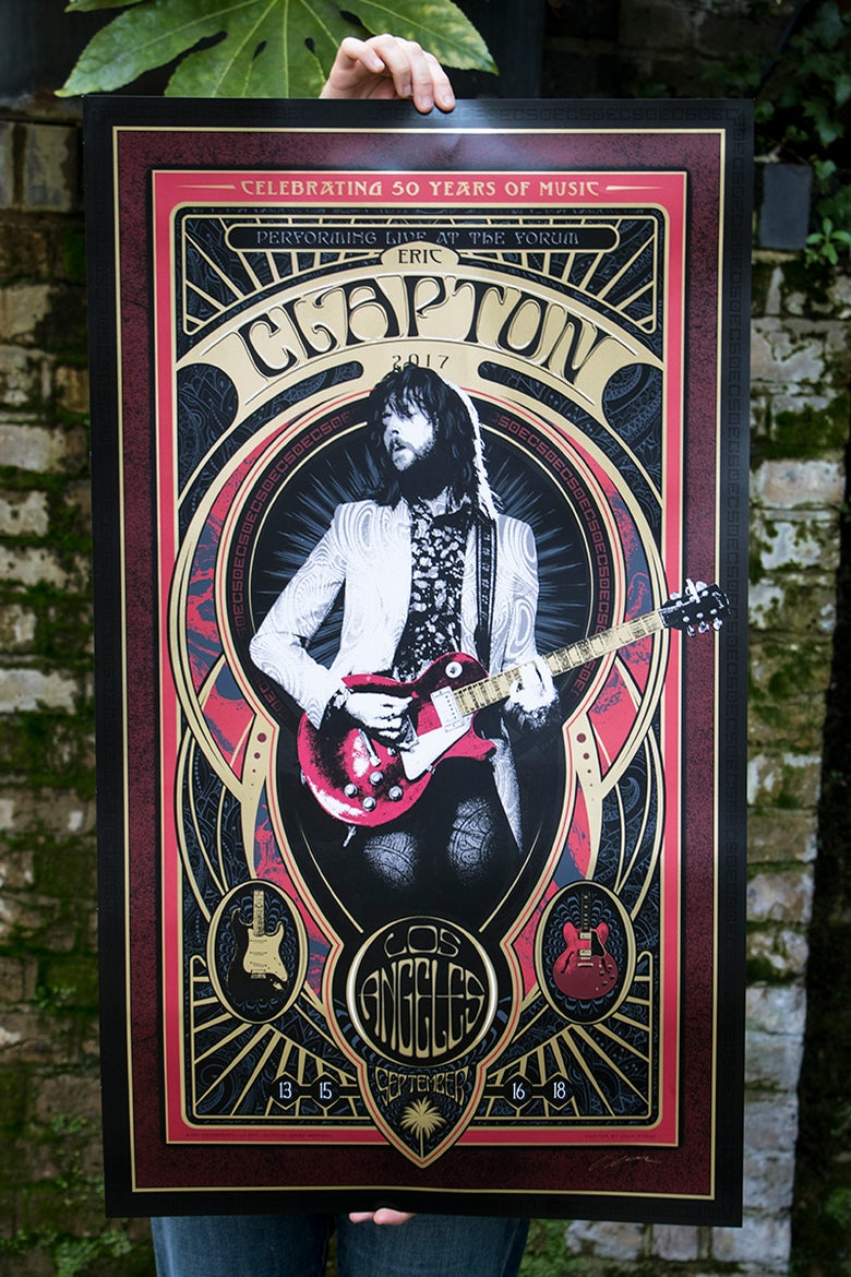 Image of LOS ANGELES Eric Clapton the Forum September 13, 15, 16 & 18th 2017 Silkscreen Poster