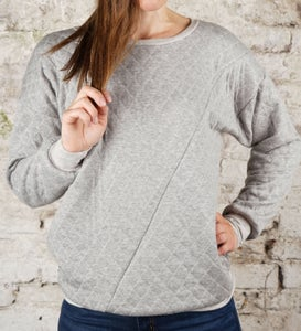 Image of Sweater gesteppt - grau meliert
