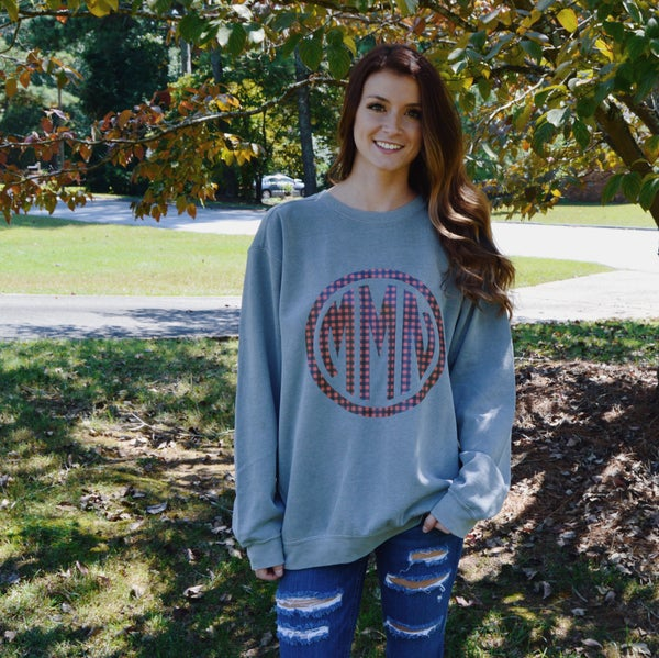 Image of Plaid Monogram Sweatshirt