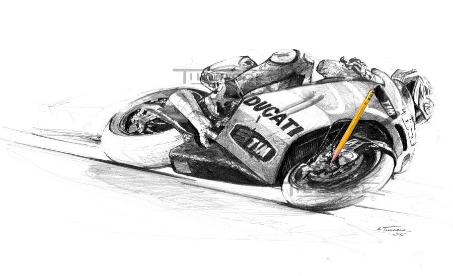 Image of Nicky's Ducati  11x17 Print