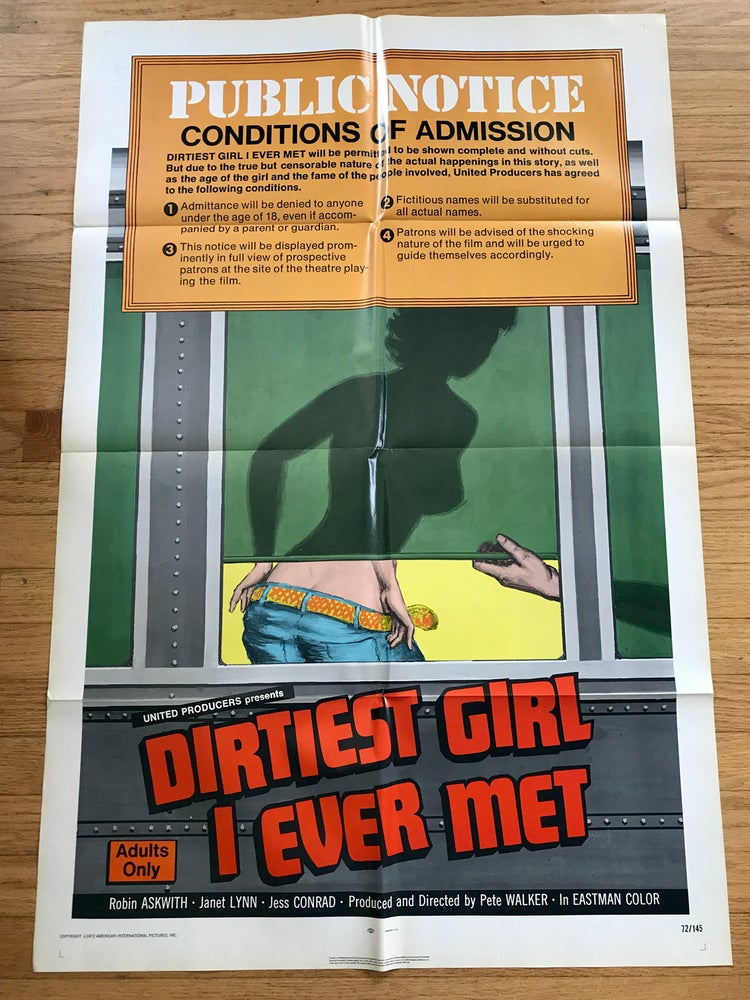 Image of 1972 THE DIRTIST GIRL I EVER MET Original U.S. One Sheet Movie Poster
