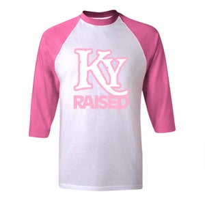 Image of KY Raised Baseball Tees in Pink / Heather Grey