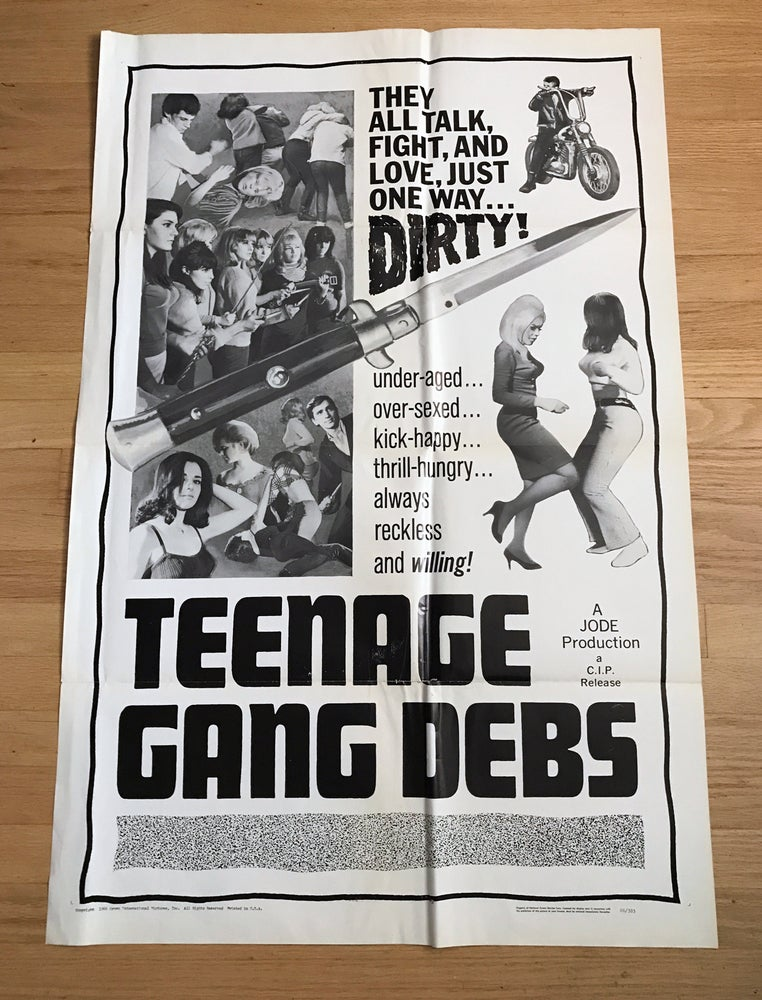 Image of 1966 TEENAGE GANG DEBS Original U.S. One Sheet Movie Poster