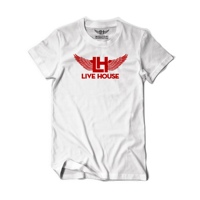 Image of Classic LH Wing Tee (Red On White)