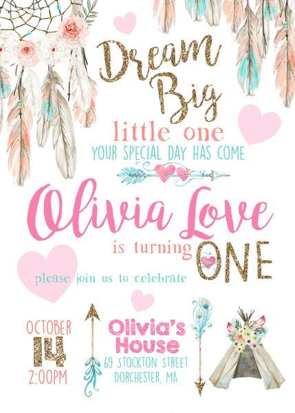 Image of Dream Catcher Birthday Invitation