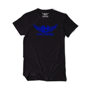 Image of Classic LH Wing Tee (Royal Blue on Black)