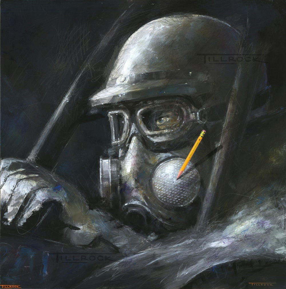 """Image of """"Dialed-In"""" Gas Mask Signed and Numbered Color Giclee' Print"""