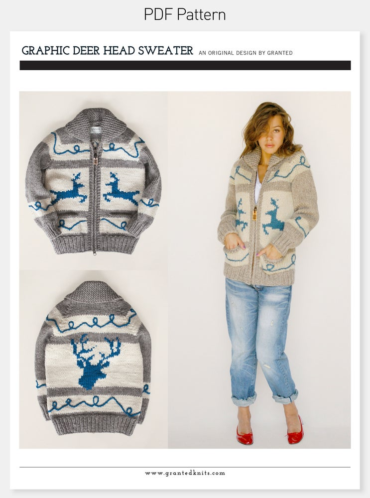 Image of Graphic Deer Head Sweater Pattern (PDF)