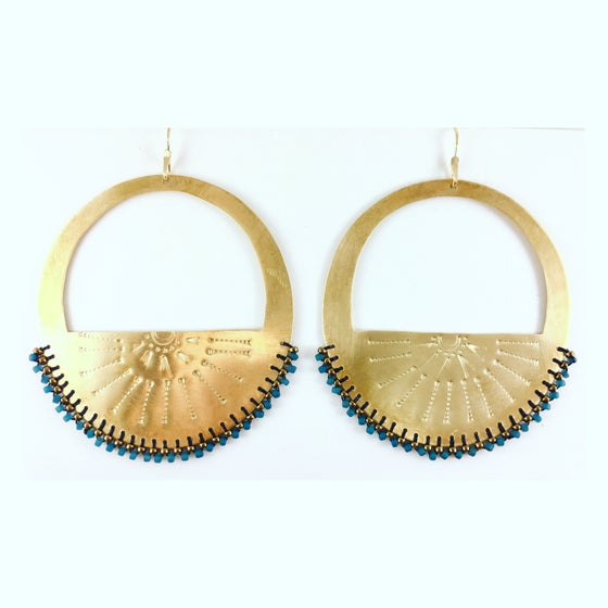 "Image of Stamped brass ""Arch Hoops"" w/ blue and bronze beads"