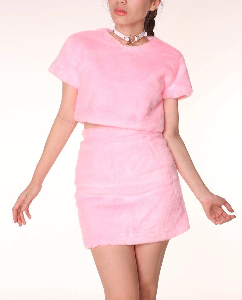 Image of Gigi Faux Fur Set in Baby Pink