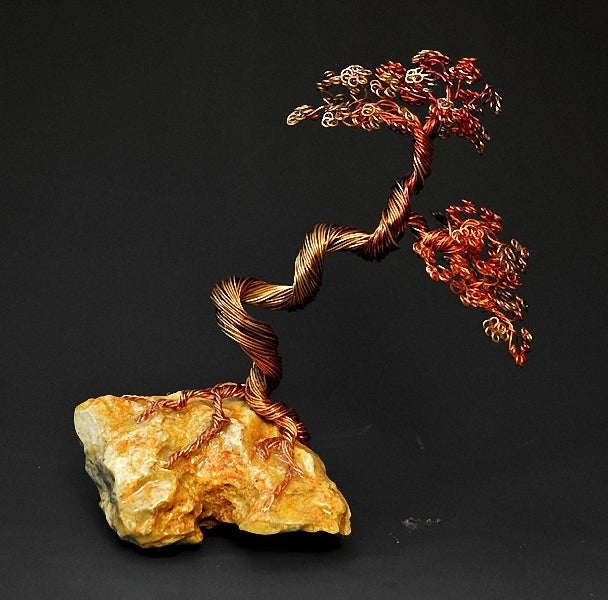 Image of Hand Twisted Metal Copper Bonsai Wire Tree Art Sculpture - 2279 - FREE SHIPPING