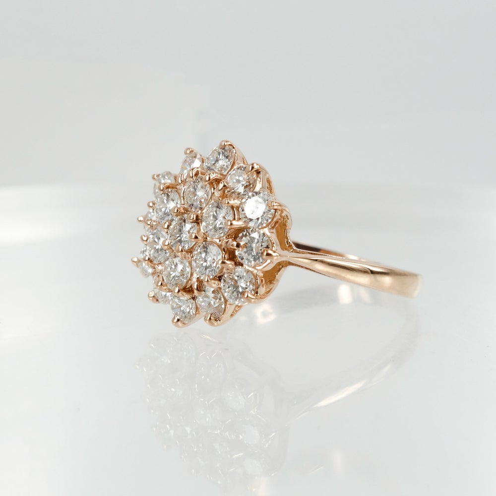 Image of 18ct Rose Gold and Diamond Cluster Ring