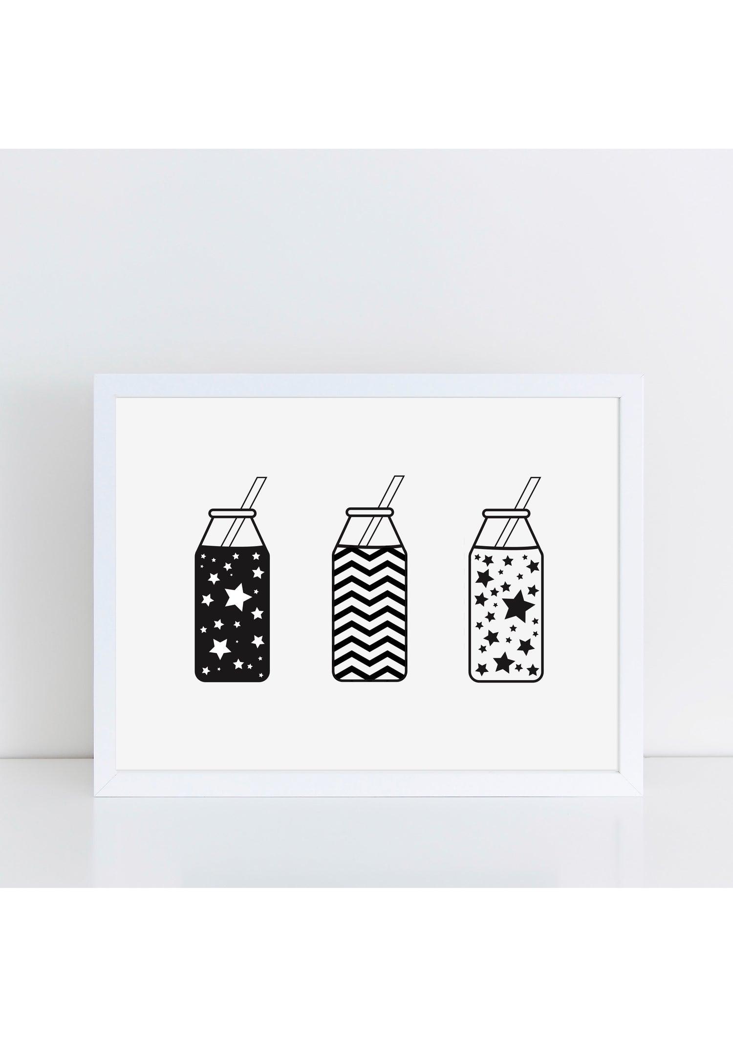 Image of Monochrome Milk Bottle Print by The Little Jones
