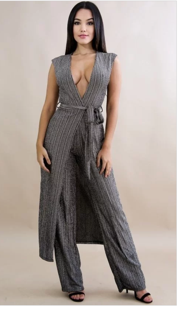Image of Metallic Stripe Vest Set