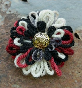 Image of Black, Red, White Moon & Stars Pin, handmade