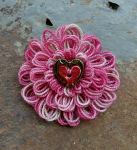 Image of Variegated Pink Heart Pin, handmade