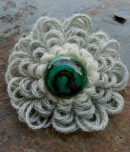 Image of Green Spiral Alpaca Pin, handmade