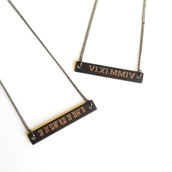 Image of Black Bar Necklace Engraved