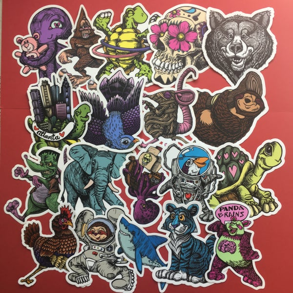 Image of Wacky Woodcut Wednesday Sale! - **STICKER and BUTTON GRAB BAG!!**