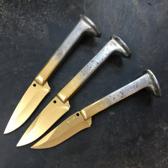 Image of rail spike knife : half-gold fade