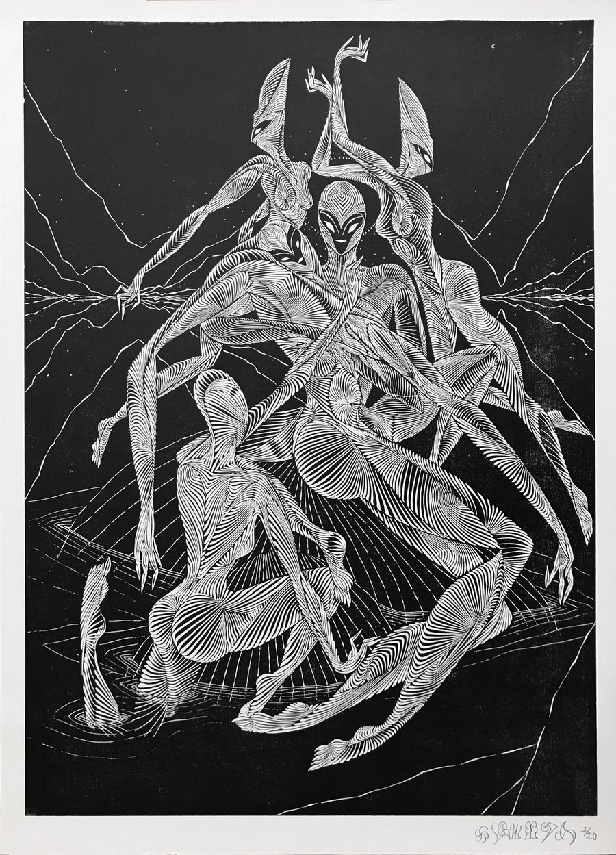 "Image of ""Immersion""  woodblock print."