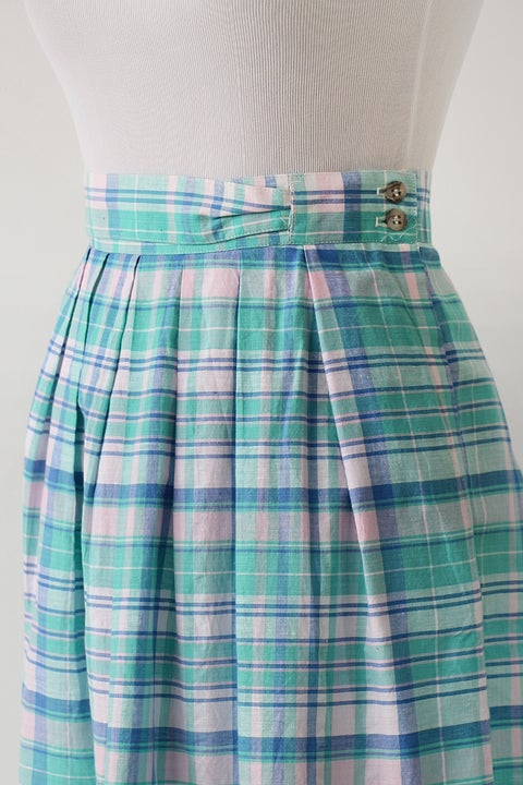 Image of SOLD Madras Cotton Unique Waist Skirt