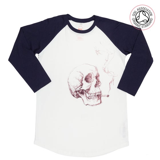 Image of Smoking Skull Unisex White/Navy Baseball (Organic)
