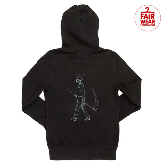 Image of Mr Death Back Print Black Crossover Hoodie