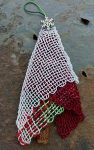 Image of Silver Snowflake Red Lace Tree Ornament, handwoven