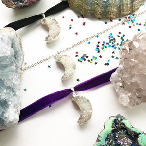 Image of Crystal Moon Choker / Necklace - with Aura Quartz - Silvers - SOLD OUT
