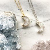 Image of Crystal Moon Choker / Necklace - with Aura Quartz Crystal - Golden BACK SOON