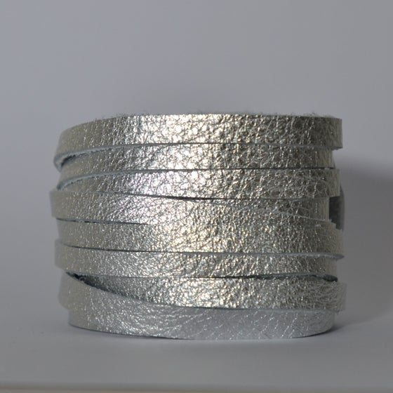 Image of Silver leather wrap bracelet