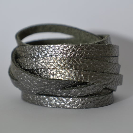 Image of Pewter leather wrap bracelet