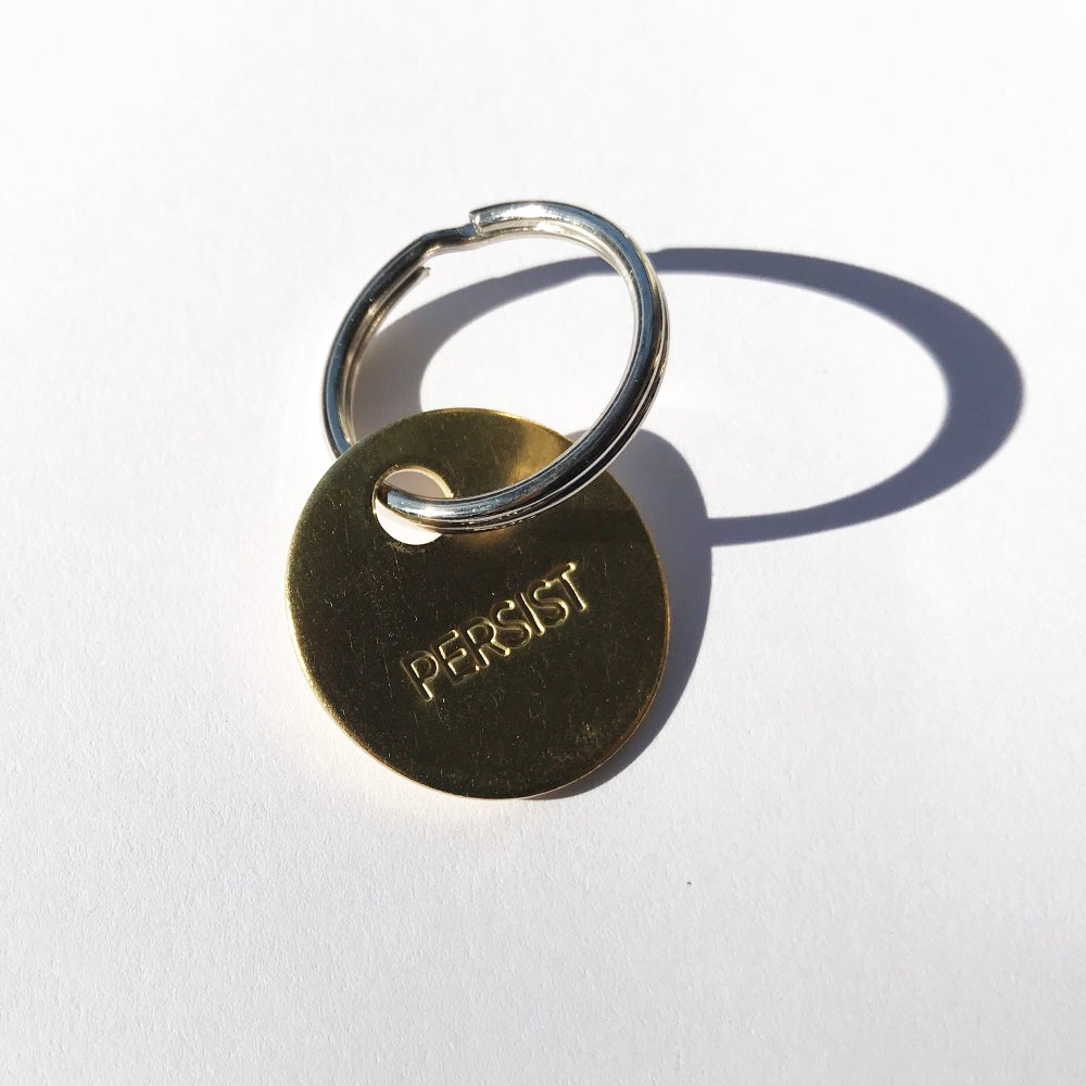 Image of PERSIST / SMALL BRASS KEYCHAIN