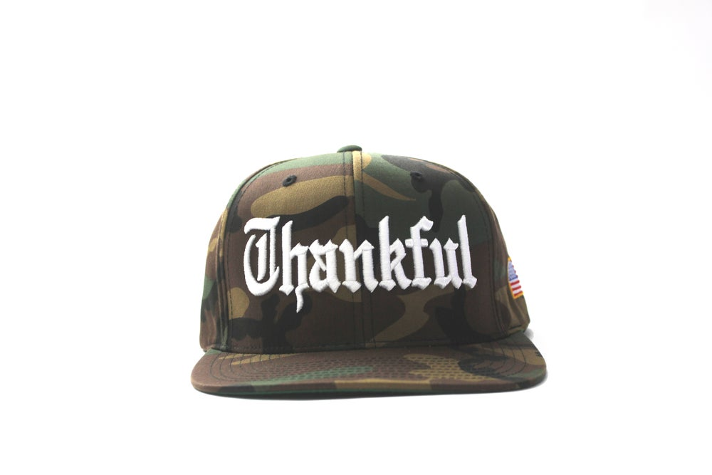 Image of OLD ENGLISH THANKFUL SNAPBACK (FULL CAMOUFLAGE )