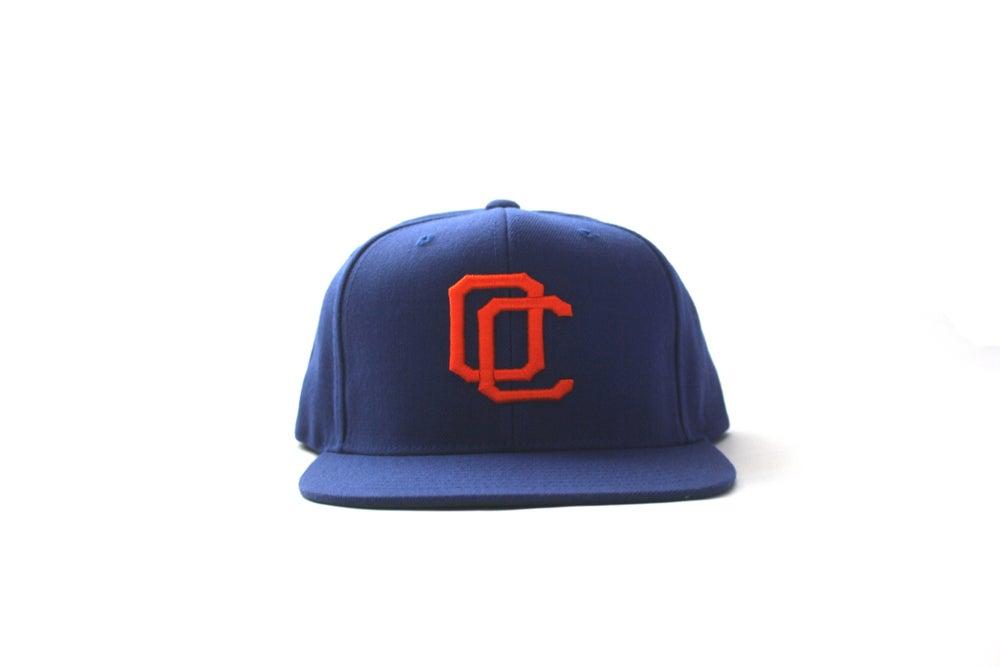 Image of ORANGE ON BLUE OC HAT
